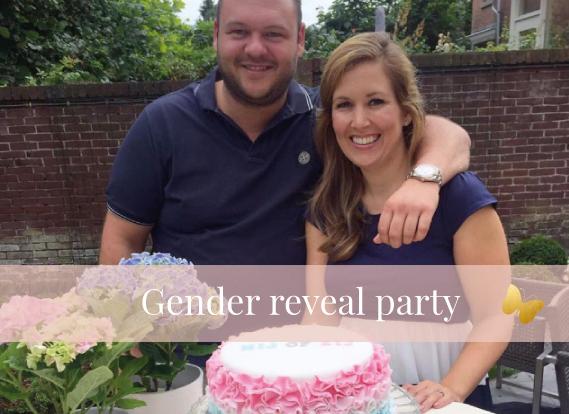 genre reveal party wij krijgen een ... jongen of meisje bekendmaking geslacht cake taart MAMA to the max
