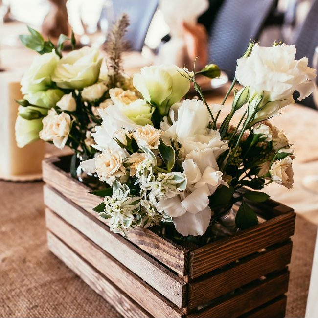 Rustic Wedding Decorations. Wooden Box With Bouquet Of Flowers O
