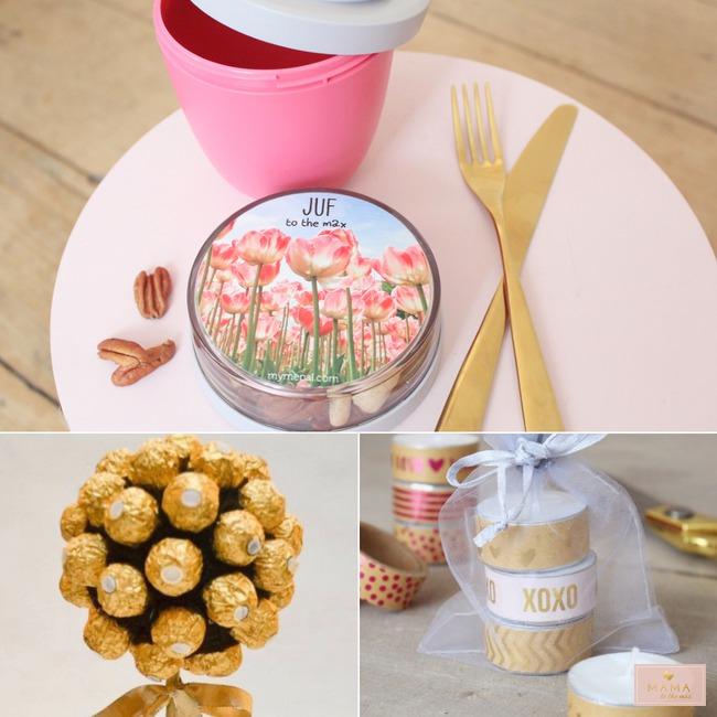 Bedankjes juffen meesters Ferrero rocher boom waxinelichtjes washitape mymepal lunchpot