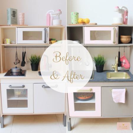voor na resultaat rust-oleum IKEA keukentje DIY