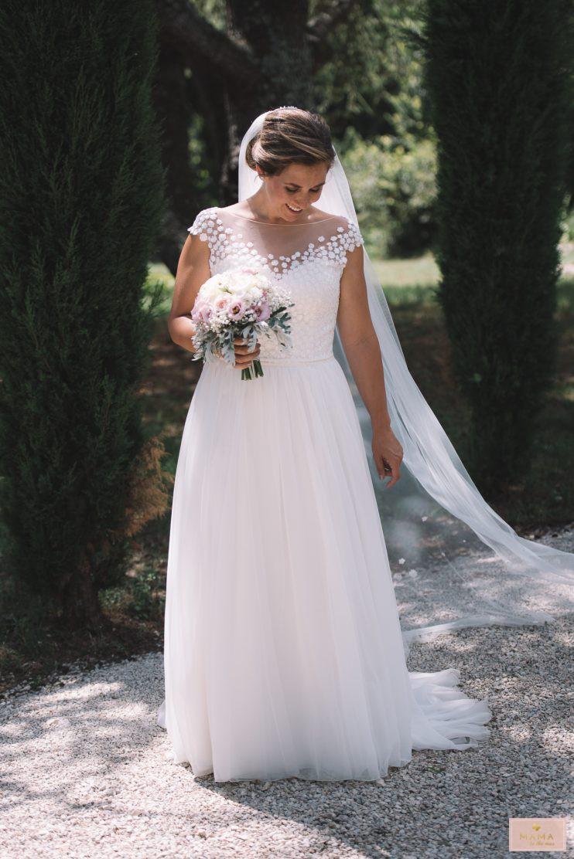 Wedding Wednesday, trouwjurk kant, trouwjurk chiffon, Modeca Bloom, Le Papillon, trouwen in Zuid-Frankrijk, droombruiloft