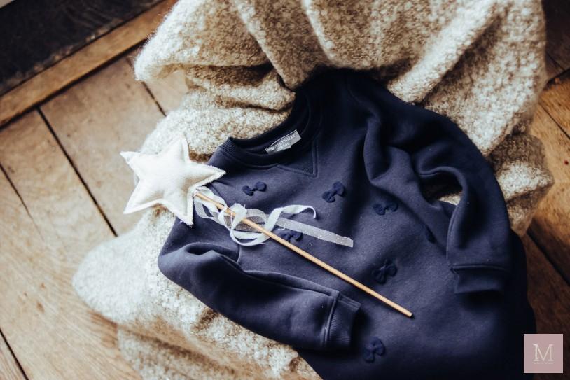 donkerblauwe jurkje met strikjes buissonniere mama to the max