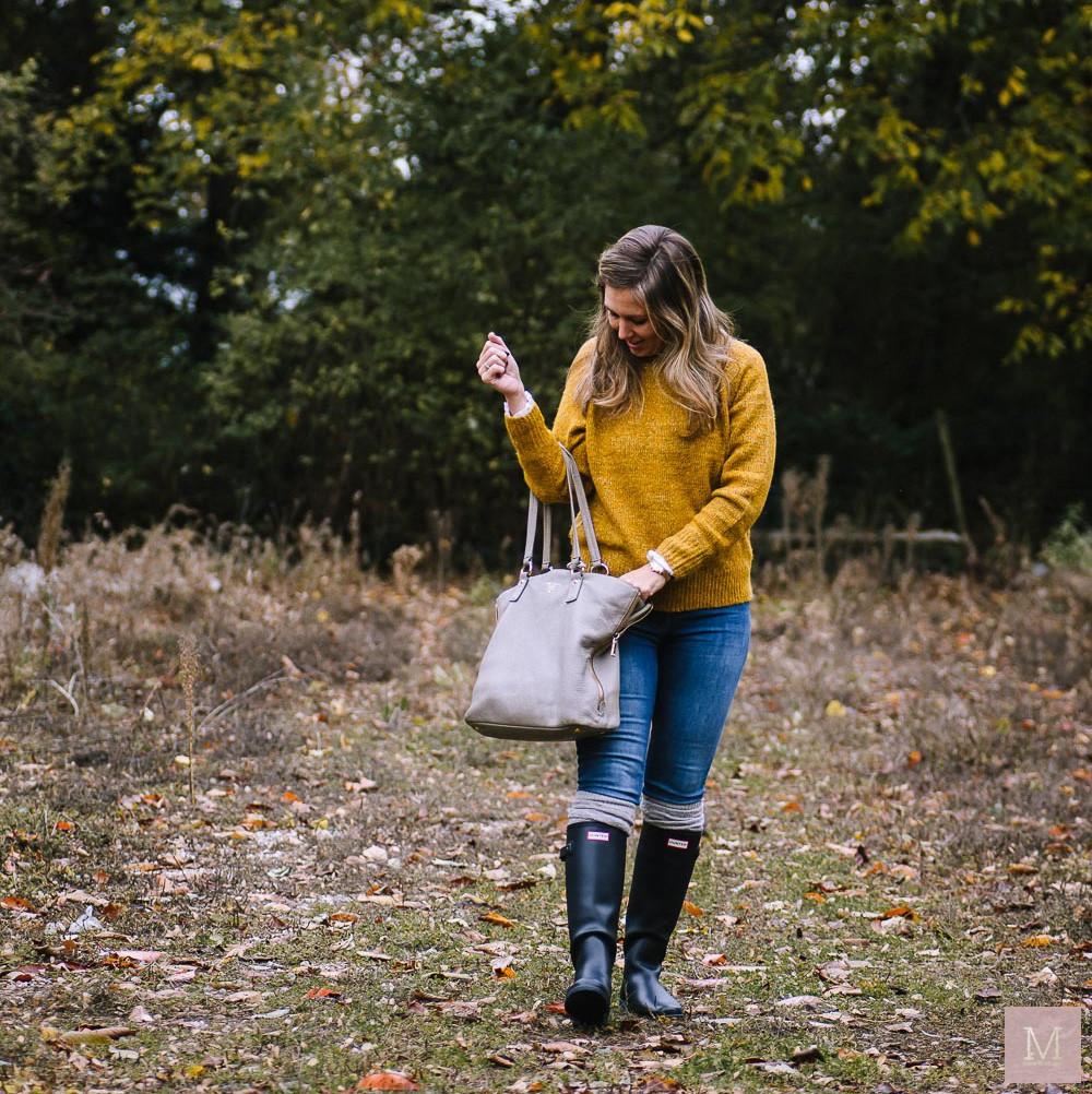 herfstoufit hunterlaarzen spijkerbroek met trui