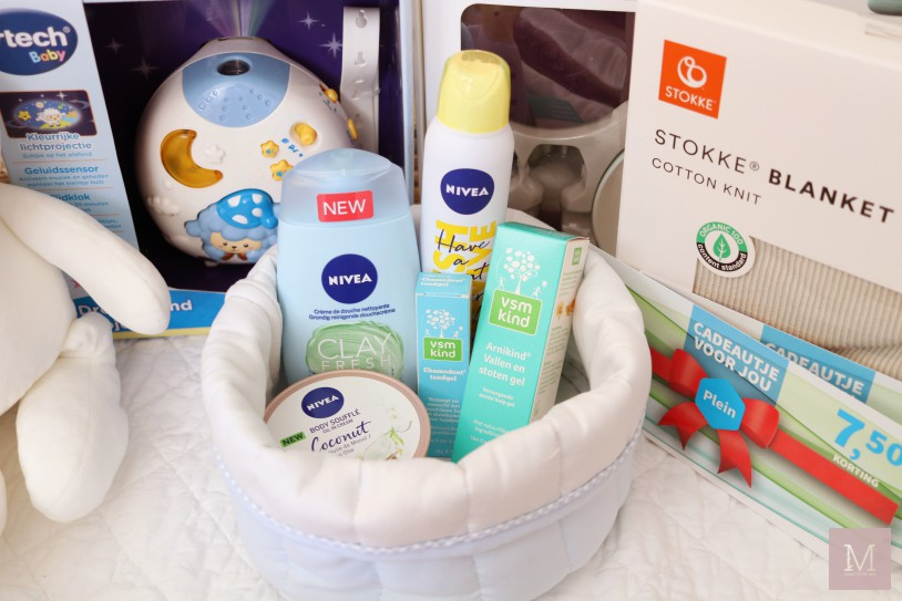 cadeau baby, DIY kraammand, Jut & Juul kraamcadeau, kraamcadeau moeder, origineel kraamcadeau, Stokke cadeau, VTech cadeau